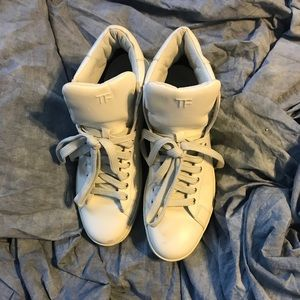 Tom Ford High Top Sneakers White Leather EUC